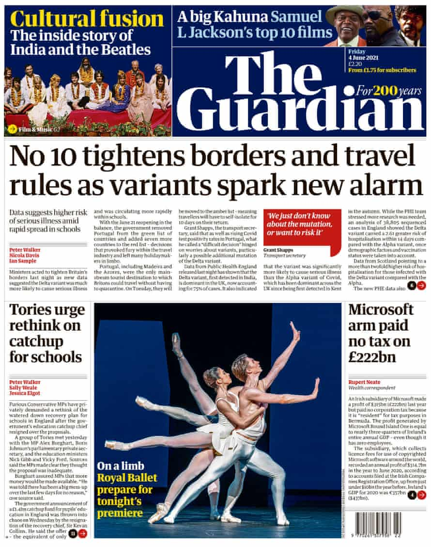 Guardian front page, Friday 4 June 2021