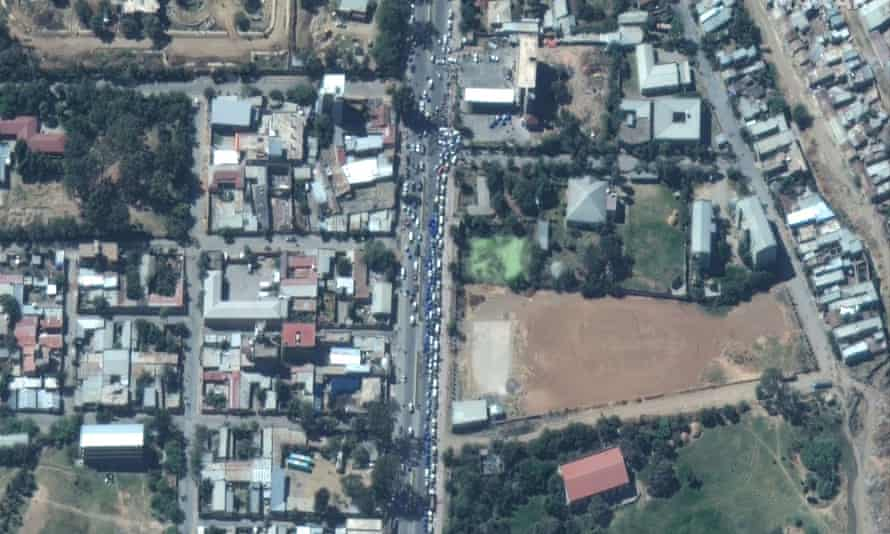 Vehicles queuing for fuel in Mekelle, from where many residents have fled because of the unrest.