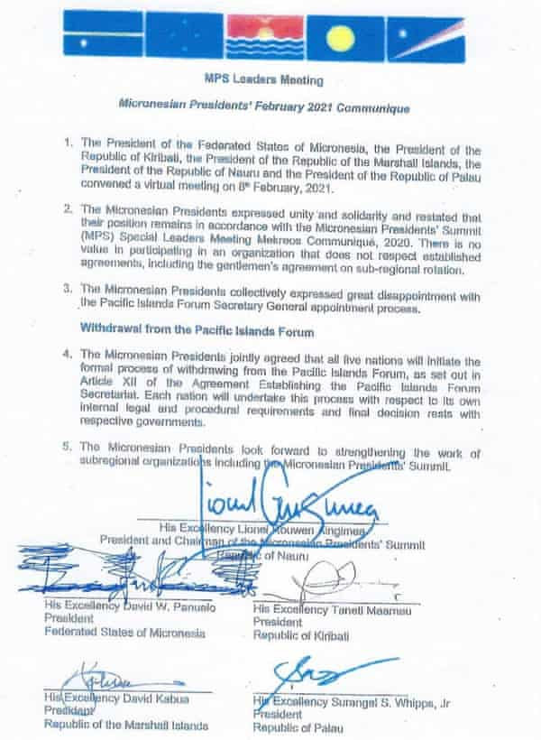 The five Micronesian nations of the Pacific Islands Forum have all withdrawn from the forum.