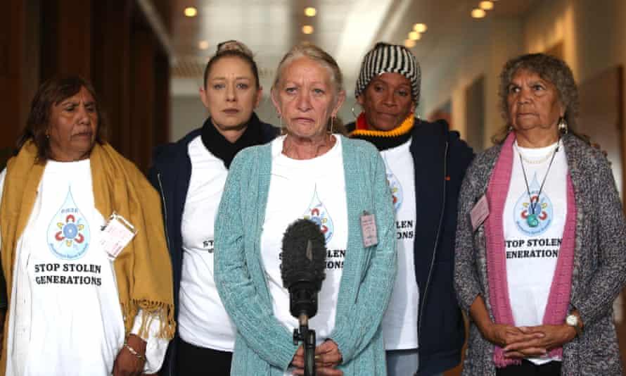 Christine Palmer, Helen Eason, Hazel Collins, Janette Miller and Elaine Peckham of Grandmothers Against Removals