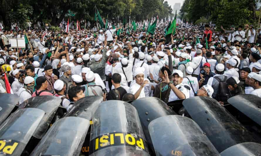 Protest against Jakarta governor's statement