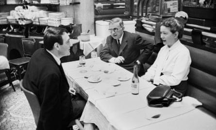 Simone de Beauvoir with Claude Lanzmann, left, and Jean-Paul Sartre.