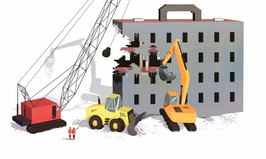 Illustration business school bulldozer