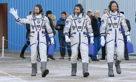 From left: Peake, with his International Space Station crew mates, the cosmonaut Yuri Malenchenko and US astronaut Tim Kopra, prior to launch, December 2015,