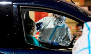 Coronavirus test on driver of car