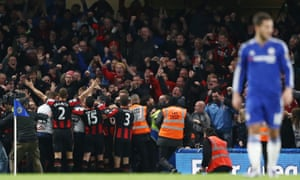 Glenn Murray celebrates in front of Bournemouth's fans after scoring the winning goal against reigning champions Chelsea in December 2015.