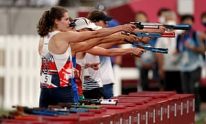 Kate French of Team Great Britain competes in the Laser Run during the Women's Modern Pentathlon.