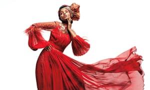 Model Halima Aden wears a Melinda Looi gown
