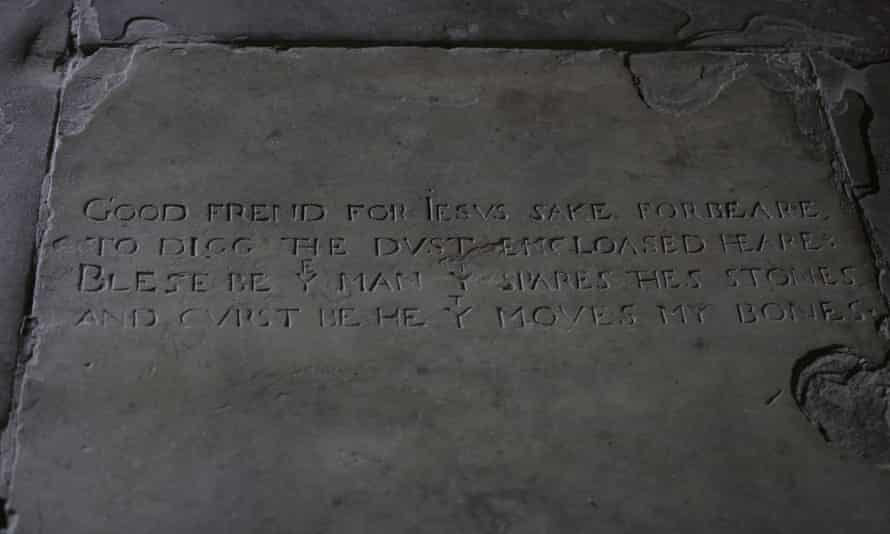 Inscription on Shakespeare's grave at Holy Trinity church in Stratford-on-Avon