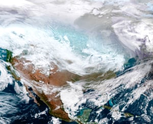 North AmericaA satellite image of the continental United States shows the extreme cold weather phenomenon called the polar vortex over the Midwest and Great Lakes.