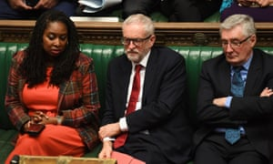 The Labour frontbench during PMQs.