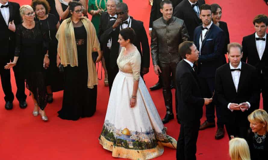 Miri Regev in her Jersualem skyline dress at Cannes