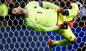Despite his acrobatics France and Tottenham Hotspur goalkeeper, Hugo Lloris, fails save a goal at the Stade de France during the International friendly match between France and Russia in Paris, France.