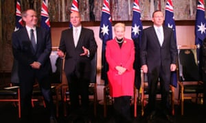 The prime minister Tony Abbott with madam speaker Bronwyn Bishop and bill shorten at a celebration of the 800th anniversary of the Magna Carta