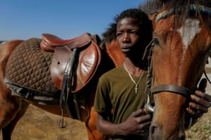 Diop strokes a young mare he is training called Raissa Betty, with whom he hopes to compete
