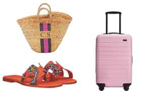Rae Feather basket bag. Classic 'H' sandal from Hermès. Away carry-on case.