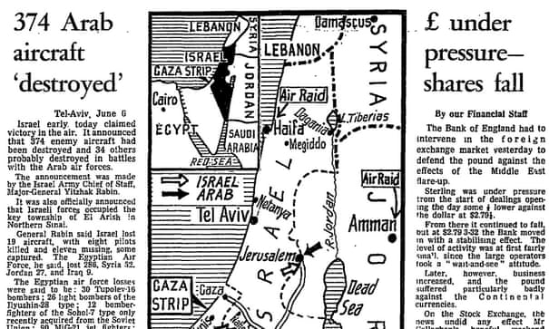 The six-day war: Israel claims land and air successes - archive, 6