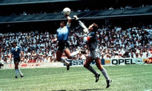 Diego Maradona scores his 'hand of God' goal against England in the 1986 World Cup.