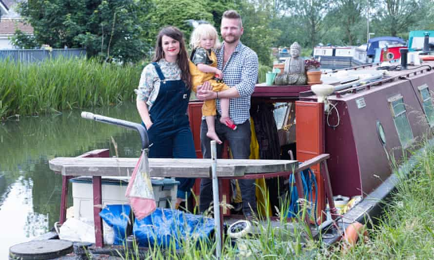 Jo, Billy Beau and Matt outside their canalboat.