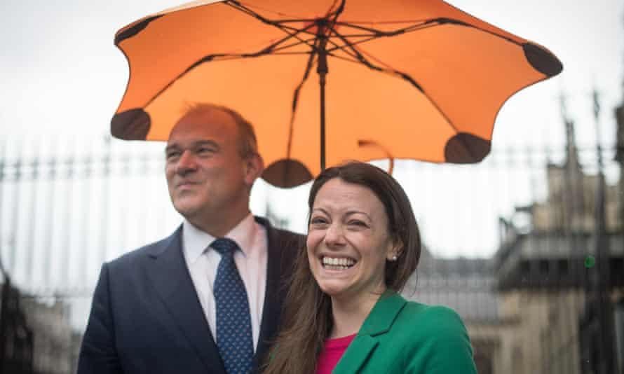 Sarah Green, the new MP for Chesham and Amersham, with Lib Dem leader Ed Davey.