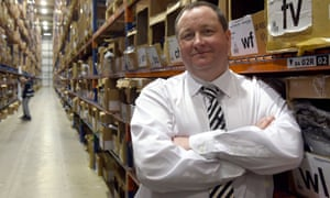 Mike Ashley at Sports Direct headquarters in Derbyshire.