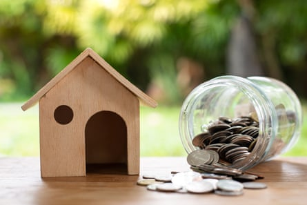 Wooden miniature house and money jar