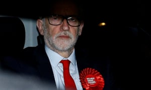 Jeremy Corbyn leaves Labour party's headquarters  in London after the general election