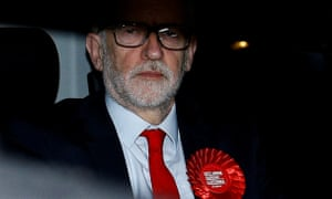 Jeremy Corbyn leaves the Labour party's headquarters in the early hours of Friday morning.