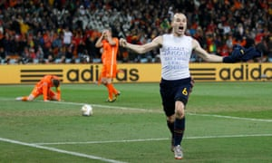 Andrés Iniesta scores the winning goal at the World Cup final in 2010.