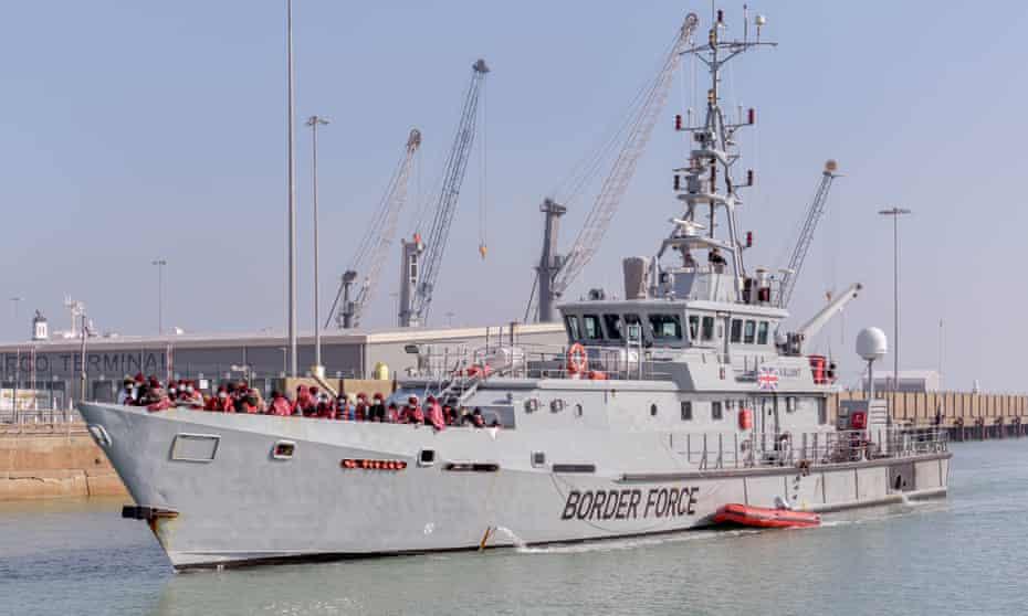 A Border Force vessel in Dover docks