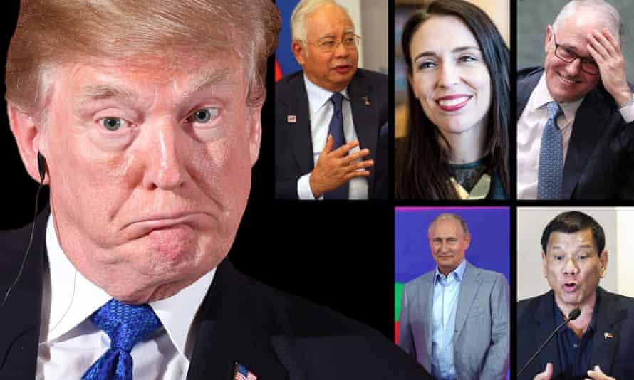 Donald Trump could cross paths with Najib Razak, Jacinda Ardern, Malcolm Turnbull, Vladimir Putin and Rodrigo Duterte.