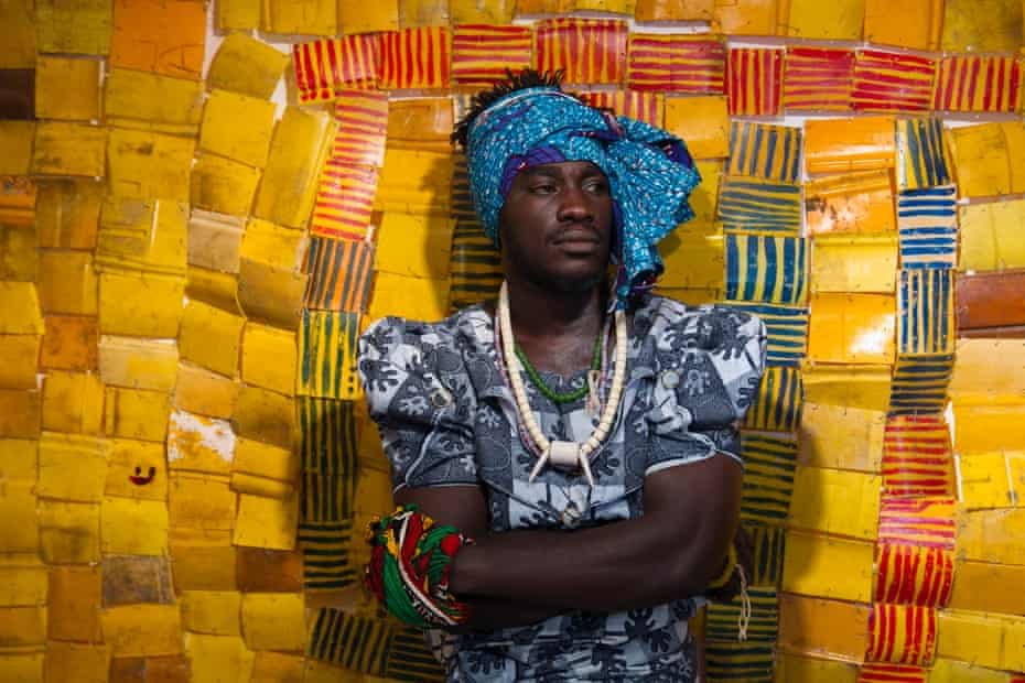 Serge Attukwei Clottey and GoLokal perform My Mother's Wardrobe at Gallery 1957, Accra, Ghana.