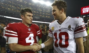 Eli Manning shakes hand with the 49ers Nick Mullens after Monday night's game