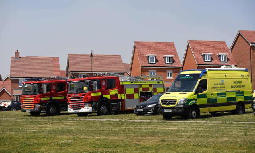 Firefighters and paramedics on standby in Amesbury