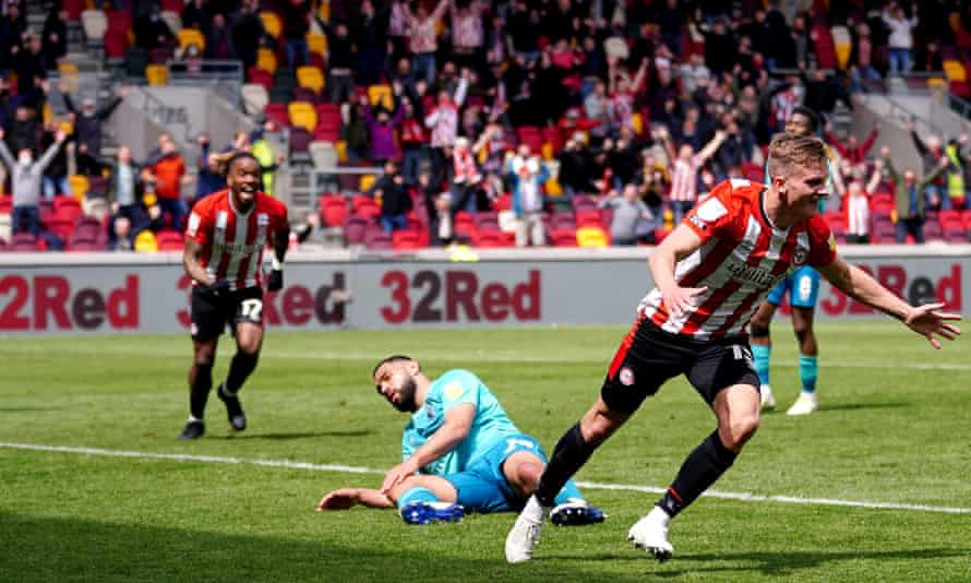 Marcus Forss wheels away after scoring Brentford's winner in the second leg that takes his side to the Championship play-off final.