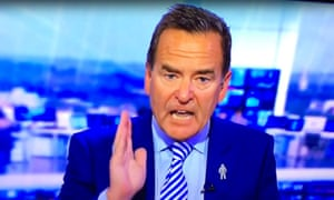 Jeff Stelling becomes animated while presenting a Sky Sports programme.