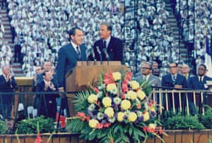 Richard Nixon appeared at one of Graham's revivals in Tennessee in 1970, the first president to give a speech from an evangelist's platform