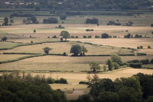 Dry fields seen from Glastonbury Tor in Somerset, England.