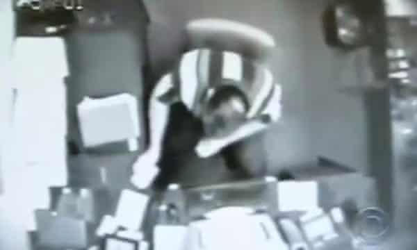 CCTV footage of Brian Regan at his desk