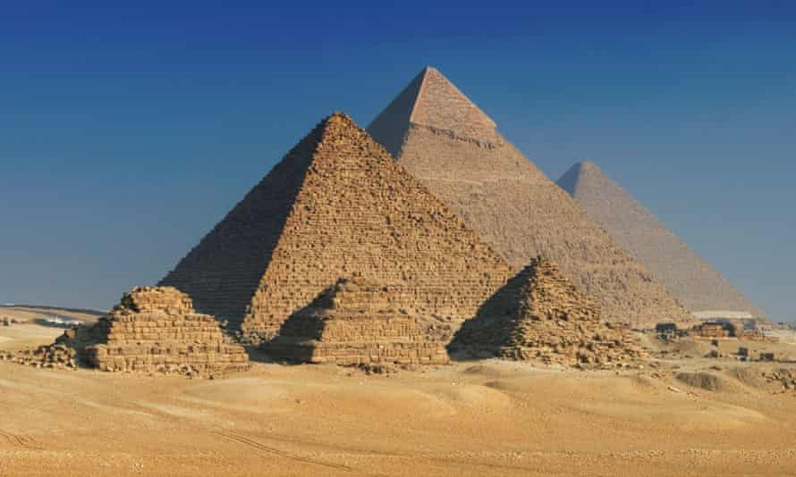 The Pyramids of Giza, Cairo, Egypt. The Great Pyramid is in the centre.