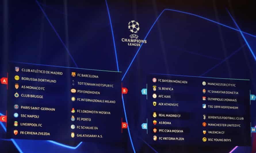 The Champions League draw was made in Monaco and pits holders Real Madrid against last year's semi-finalists, Roma.