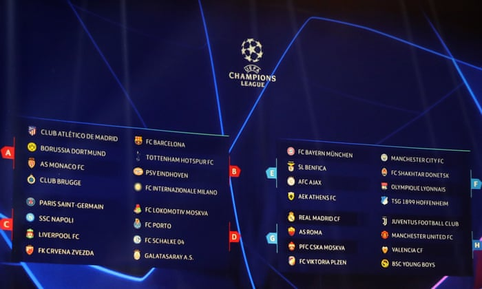 champions league group stage draw as it happened football the guardian champions league group stage draw as