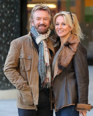 Edmonds with his wife Liz Davies, who worked as a makeup artist on Deal Or No Deal.
