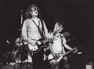 Ian Hunter (left) and guitarist Mick Ronson (right) performing at the Capitol theatre in Passaic, New Jersey, on October 21, 1979.