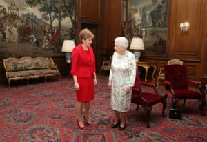 Edinburgh, UK: Queen Elizabeth II meets Scotland's first minister, Nicola Sturgeon, at an audience at Holyrood Palace
