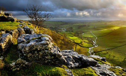 A view of Malhamdale from above the cove. Yorkshire, UK.