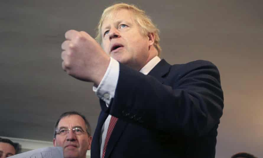 Boris Johnson during a visit to Sedgefield, north-east England