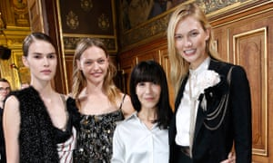 Bouchra Jarrar (in white) poses with models after the Lanvin show during Paris fashion week last September.