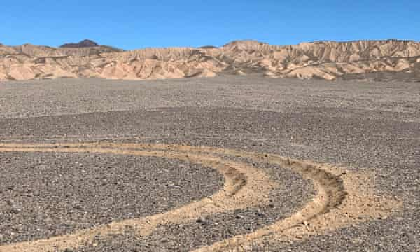 Recent off-road vehicle damage within Death Valley national park.