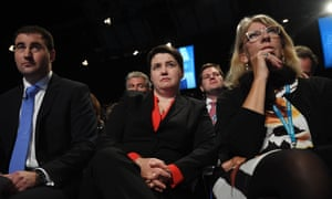 Ruth Davidson, centre, was one of only three women to chair a panel at a Tory fringe meeting.